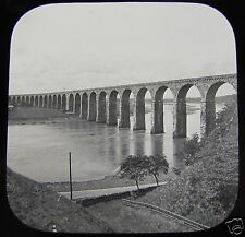Glass Magic Lantern Slide ROYAL BORDER BRIDGE BERWICK ON TWEED C1890