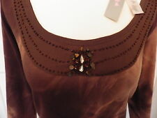 PER UNA size 14 sequin top brown BNWT Marks and Spencer