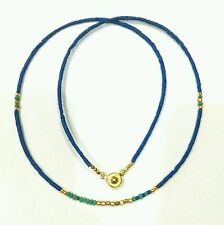 Afghan Natural Lapis Lazuli & Malachite Tiny Seed Beads Necklace Gold Plated