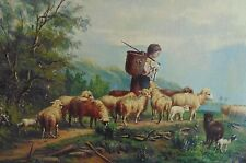 19c Sheep Lamb Child Landscape Painting Oil on Canvas Signed Christian Mali