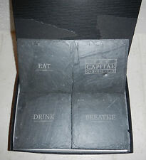 The Capital Grille Restaurant Natural Slate Stone Drink Coasters Set by JK Adams