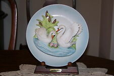 Jonathon Byron - Americana Signature Collection - White Swans Plate with Stand