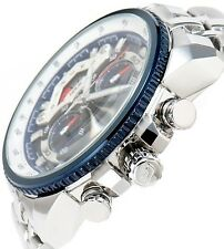 CASIO EDIFICE Chronograph 100M EF558D-2A EF-558D-2A White Blue Free Ship!