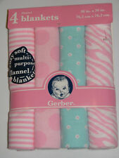 New Gerber Baby Pink Blue Zebra Stripes Floral Cotton Flannel Receiving Blankets
