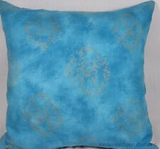"2 Large 19"" Turquoise Blue Silver Designers Guild Sakumari Pillow Cushion Covers"