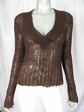 ONE STEP UP XL Ramie/Acrylic/Mohair Brown Sheer Big Hole V-Neck Pullover Sweater