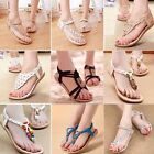 Summer Women Bohemia Sandals Clip Toe Floral Flat Beach Shoes Slipper Flip Flops