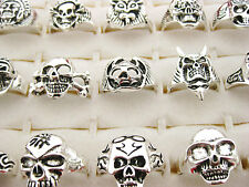 Wholesale Lots 20pcs Gothic Skull Carved Biker Assorted Men's Silver Tone Rings