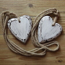 DISTRESSED SHABBY CHIC WOODEN HEARTS JUTE ROPE VINTAGE CURTAIN TIE BACK PAIR