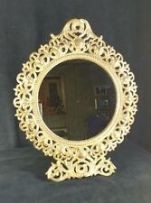 Antique Ornate Round Mirror Gold Toned Cast Iron  Frame & Stand 14 Inch Tall EXC