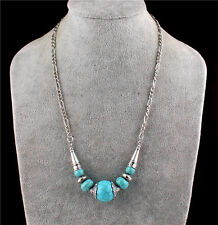 Women Round Turquoise Beads Pendant Charm Tibet Silver Chain Bib Necklace Collar