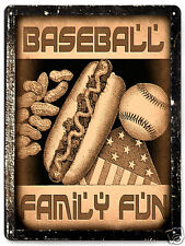 BASEBALL METAL sign hot dog peanuts glove SPORT bat vintage style wall decor 337