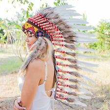 CHIEF INDIAN HEADDRESS 90CM FEATHERS Native American Costume war bonnet