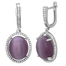 Sterling Silver Drop Dangle Oval Earrings with AAA quality CZ English Lock