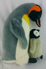 K&M Emperor Penguin Plush Toy Stuffed Animal Mom And Baby Standing on Feet 14""