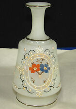Bristol Glass Satin Barber Bottle Hair Tonic,Enamel Paint Victorian Flower+Scrol