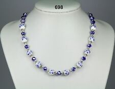 Beautiful blue & white flower porcelain bead necklace, royal blue crystals 20""