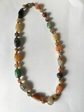 Fine Old Chinese Carved Polished Agate Jade Carnelian Necklace 18""