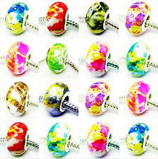100 PCS mixed Beautiful Acrylic Camouflage Bead Fits European Bracelet KM07