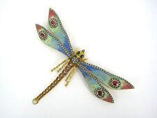 70's Plique a Jour Multi Color Enamel Diamond Emerald Ruby Dragonfly 18K Brooch