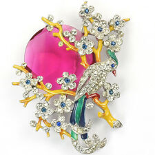 Trifari Philippe Pave and Enamel Bird in a Tree with Rising Ruby Moon Pin