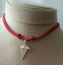 Leather Necklace Medical Caduceus MD RN Pendant Handmade Men's Woman Choker Red