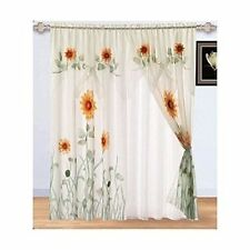 Chezmoi Collection 3D Sunflower Window Curtain White/Green/Yellow 2-Panel