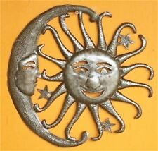 "HAITIAN METAL ART SUN MOON WALL SCULPTURE 13"" INDOOR OUTDOOR POOL DECOR HAITI"