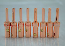 8PCS HBU Red Copper Plated Speaker Wire Cable Banana Plug Connector amp