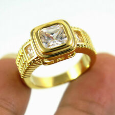 Jewelry Ring Size 9 White Sapphire CZ Women's 10Kt Yellow Gold Filled Wedding