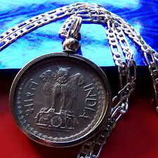 "1975 INDIA Lion Coin 50 Paise PENDANT on a 30"" 925 Sterling Silver Chain"