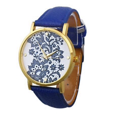 Women Watches Round Lace Printed Faux Leather Quartz Analog Watch