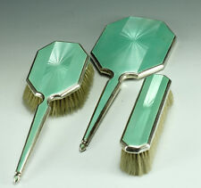 1935 3 pc English Guilloche Enamel on Sterling Silver Vanity Set Mirror Brushes