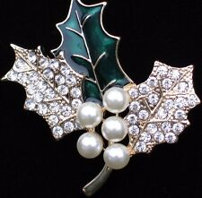 NIB ANNE KLEIN CHRISTMAS RHINESTONE PEARL HOLLY BERRY LEAF PIN BROOCH JEWELRY 2""