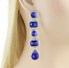 Vegas Austrian Rhinestone Crystal Chandelier Dangle Earrings E3516b Royal Blue