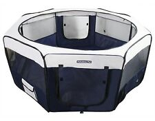 "37"" Portable Puppy Pet Dog Soft Tent Playpen Folding Crate Pen New - Navy"
