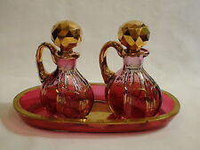 Antique Moser Cranberry Cut to Clear Crystal Cabochon Cruet Set With Underplate