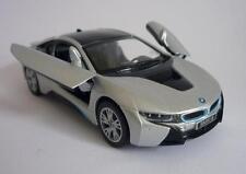 Silver & Black BMW i8 Boys Dad Toy Model Diecast Car Birthday Present Pull back