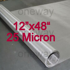 "12""x48"" ROLL - 25 Micron - Stainless Steel 316 SS Mesh Cloth Screen filter"