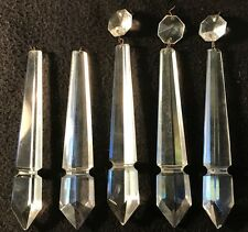 "5 Antique Victorian Vtg Chandelier Prism Lot 6"" Faceted Crystal Glass Spear"