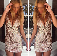 1pc Sexy Ladies V Neck Sequined Sleeveless Night Club Short Dress Party Size M