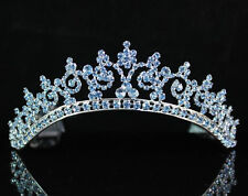 SEXY BLUE AUSTRIAN RHINESTONE CRYSTAL CROWN TIARA COMBS BRIDAL WEDDING T301BLUE
