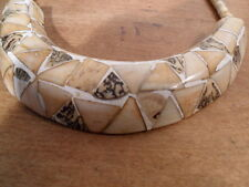 "Deco Earth-tone Polished Inlay Shell Over Wood Choker Necklace 15"" India!"
