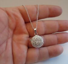 925 STERLING SILVER CIRCLE STAR LOCKET NECKLACE PENDANT / SIZE 21MM BY 19MM