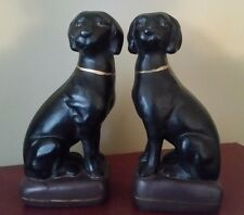 Vintage Black Lab Bookends HEAVY
