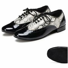 Men's Snakeskin Print Microfiber Ballroom Shoes Tango Dance Shoes Plus Size US12