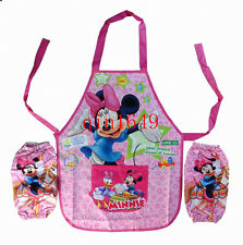New Disney Minnie mouse Childrens Kids Cartoon With Apron Sleeves Set