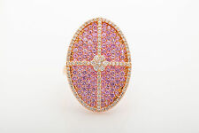 Designer $8000 7ct Natural Pink Sapphire Diamond 18k Rose Gold HALO Ring BIG