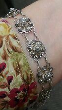 "Sterling Silver Filigree Floral Link Bracelet 7.25"" Long from Siam"