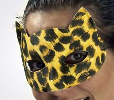 Leopard Kitty Cat Mask Carnival Marde Gras Costume Face Woman Womens Cheetah NEW